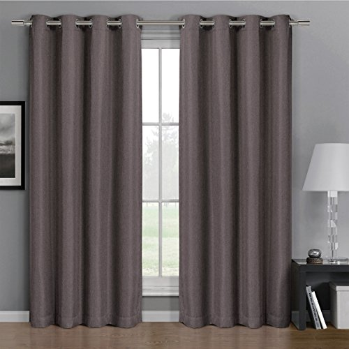 One Top Grommet Gulfport Faux Linen Blackout Weave Thermal Insulated Curtain Panel  Elegant And Contemporary Gulfport Blackout Panel  Purple 52  By 63  Panel