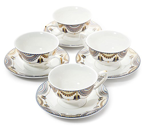 - Pretty Little Teacups Set of 4 Cups and Saucers in Gift Box White/Blue