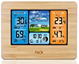 wood outdoor thermometer - Real Wood Layered Wireless Color Home Weather Station Clock Indoor Outdoor Thermometer Forecase, Temperature, Humidity, Calendar (Wood)