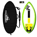 East Coast Skimboards Deluxe Skimboard Package - Zap Wedge Medium 45' - Green Halo Design - Rider Weight Limit 140 lbs