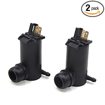 uxcell 2pcs Black 12V Front Windshield Windscreen Washer Fluid Water Pump Motor for Car