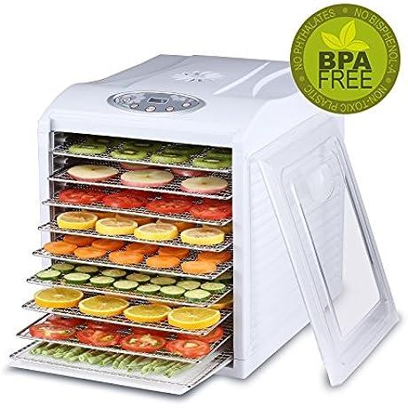 BioChef Arizona Sol Food Dehydrator 9 X BPA FREE Stainless Steel Drying Trays Digital Timer Includes 3 X Non Stick 3 X Fine Mesh Sheet Drip Tray Best Drier For Raw Food Fruit Jerky