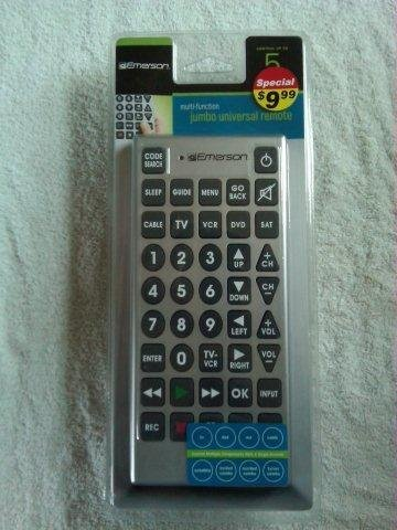 Multi-function jumbo universal remote (Gray) (Code Search For Emerson Jumbo Universal Remote)