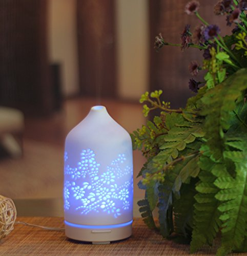 KOKO AROMA Best Floral Ceramic Essential Oil Diffuser, Aromatherapy Mist Humidifier, Elegant, Stylish Spa Vapor Purifier w/ DIY eBook