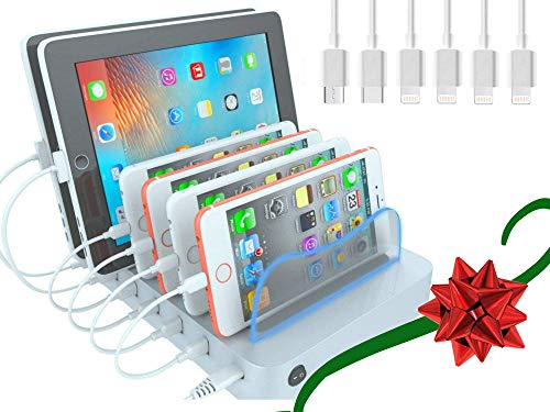 Hercules Tuff USB Charging Station Organizer for Multiple Devices - 6 Cables Included Compatible with Apple iPhone, Ipad, Android (Silver Dock)