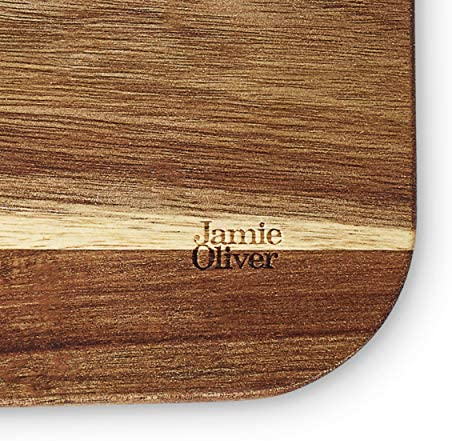 Jamie Oliver Tranchierbrett Extra großes Tranchier-Schneidbrett mit Saftrillensystem aus Akazienholz, 46 x 33,5 x 2,5 cm