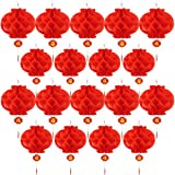 Bememo 20 Pieces 10 Inch Chinese New Year Red Paper Lanterns Chinese Hang Lantern Decorations