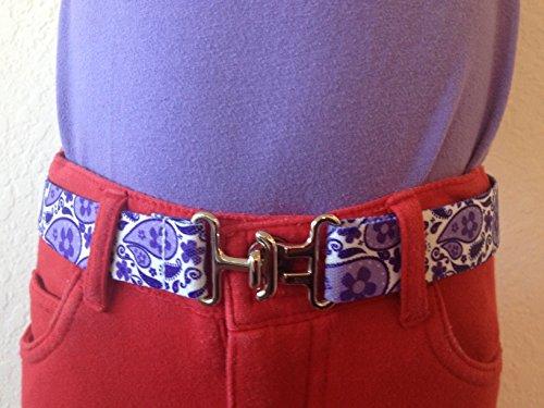 Big Kids Adjustable Elastic Belt - Made in USA (Purple Paisley Retro Loop)