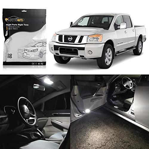 (Partsam LED Interior Package Light Kits Replacement for 2004-2012 Nissan Titan -10 Pieces/White)