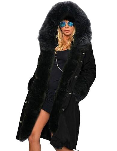 Mujeres Hoodies de invierno Thick OverCoat Faux Fur Parka Casual chaqueta de abrigo chaqueta larga