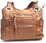 Leather Locking Concealment Purse - CCW Concealed Carry Gun Shoulder Bag, Light Brown