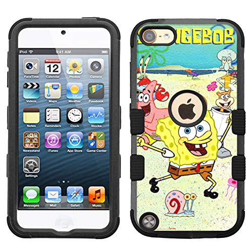 for Apple iPod Touch 6, Touch 5, Hard+Rubber Dual Layer Hybrid Heavy-Duty Rugged Impact Cover Case - Sponge Bob #SD (Ipod Spongebob 5 Touch Case)