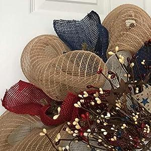 Patriotic Americana Pip Twig Berry Wreath Handmade Deco Mesh 3