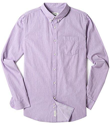 Purple Oxford - Men's Long Sleeve Oxford Regular Fit Button Down Casual Shirt Purple Medium