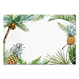 fruit border sticker - Large Wall Mural Sticker [ Pineapple,Watercolor Tropical Island Style Border Print Exotic Fruit Palm Trees and Leaves,Multicolor ] Self-adhesive Vinyl Wallpaper / Removable Modern Decorating Wall Art