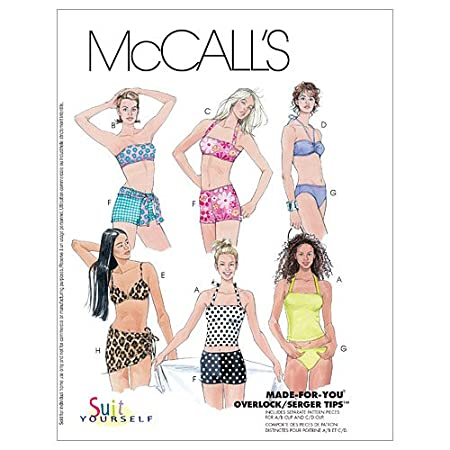 e010e67b633 McCall's Patterns M3566 Misses' Two-Piece Bathing Suit and Cover-Up Skirt,  Size B (8-10-12): Amazon.co.uk: Kitchen & Home