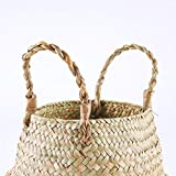 NEATNESSOME Woven Seagrass Basket for Storage, Boho Belly Plant Pot with Handles for Laundry, Picnic and Home Decor