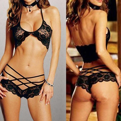 Diamondo Sexy Black Lingerie Set Women Lace Bra Sleepwear Underwear G-string Set