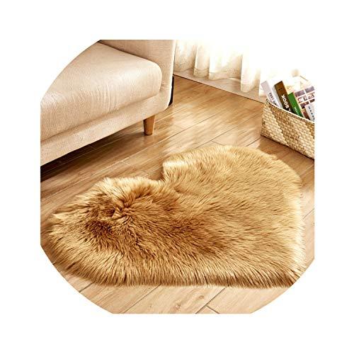 Love Heart Rugs Artificial Wool Sheepskin Hairy Carpet Faux Floor Mat Fur Plain Fluffy Soft Area Rug Tapetes,Khaki,70x90cm
