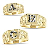 MR. BLING10K Yellow Gold Diamond Cut Ladies Alphabet Initial Ring, Block Lettering (M, 7.5)
