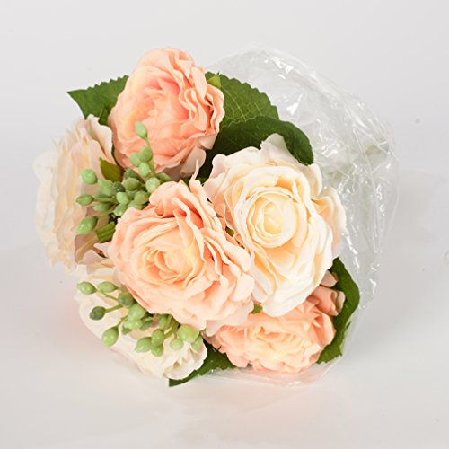 9 Branch per Bouquet Silk Artificial Flowers Rose Bride Holding Flowers for Wedding, 1 Piece of Flower, champagne