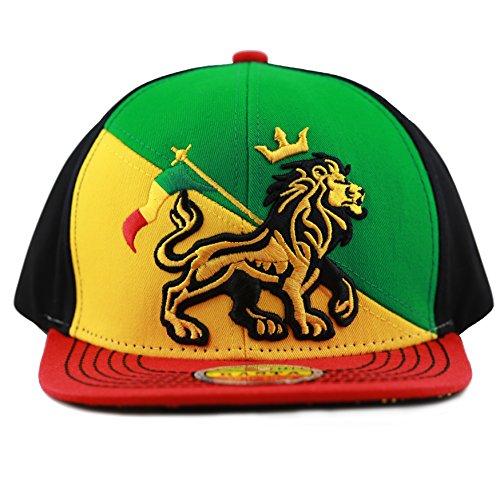 ea3f59060f838 The Hat Depot 1100 Rasta Lion of Zion 3D Embroidered Flat Bill Snapback Cap  Hat