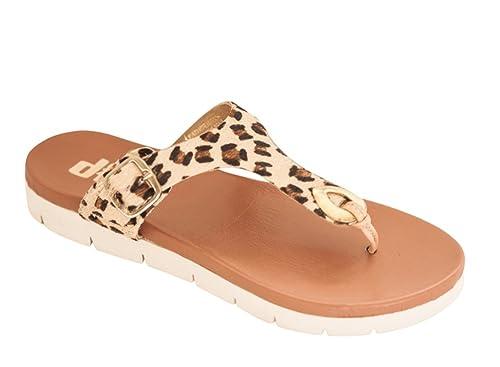 fde3c4995737 diSh Footwear Abbey Leather Flat Sandal Women - Leopard 6  Amazon ...