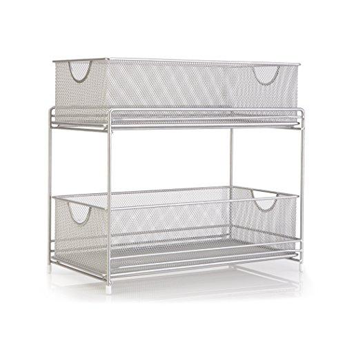 2 Tier Satin Nickel Mesh Drawers Built In Handles Bathroom Kitchen Organizer New Ebay
