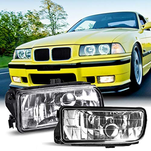 Rigel7 Pair Clear Lens Fog Bumper Light Lamp Housing Without Bulb Compatible with 92-98 BMW E36 318i 318ti 323i 328i Parts Accessories ()