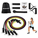 BACKTOUR 11 pcs Resistance Band Set, 5 Stackable Exercise Bands with 2 Exercise Tube Bands, 2 Ankle Straps, Door Anchor and Carry Bag for Training Workout Rehabilitation (Stackable Up To 100lbs)