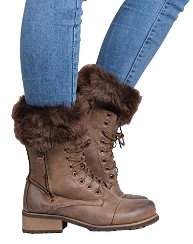 TagoWell Women Winter Faux Fur Leg Warmer Knitting Wool Short Boot Cuff Sock,Brown ()