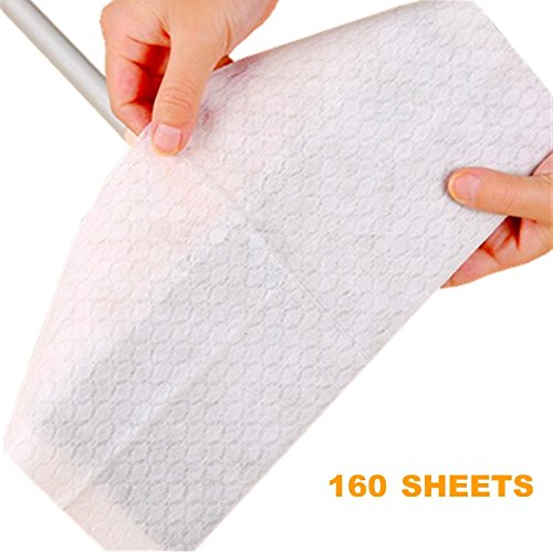 "UCLEAN Disposable Mop Pads Mop Refills Dry Mopping Pad for Floor Cleaning 160 Count 7.9""x11.6"" Dry Cloth Sweeping Refills Electrostatic Cloth (Dry Pad)"