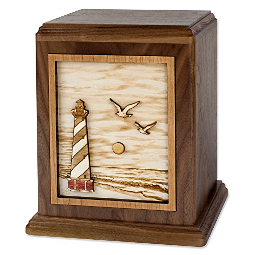 Wooden Cremation Urn - Cape Hatteras Lighthouse 3-Dimensional Inlay Wood Art Memorial Made in the USA - Funeral Urns for Adults (Standard Adult (200 cubic inches), Walnut)