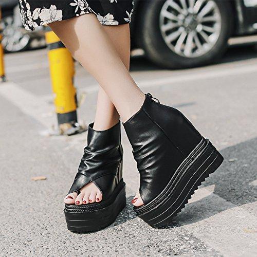 Clip Zapatos Mujer Bizcocho High Heel De EU36 Peces Zapatillas Son Toe Gruesas Eu35 SHOESHAOGE Sandalias Los Cool Aumento De 86vA1wq
