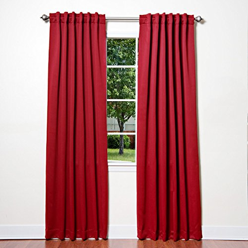 ChadMade Back Tab/Rod Pocket Red 52Wx96L Inch (Set of 2 Panels) Solid Thermal Insulated Blackout Curtain Drape