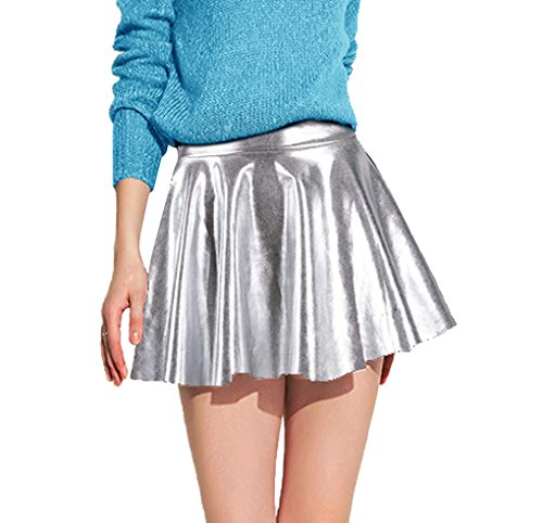 Women's Metallic Flared Pleated Shiny Liquid Wet Look Skater Skirt, Silver (Pleated Leather Metallic)