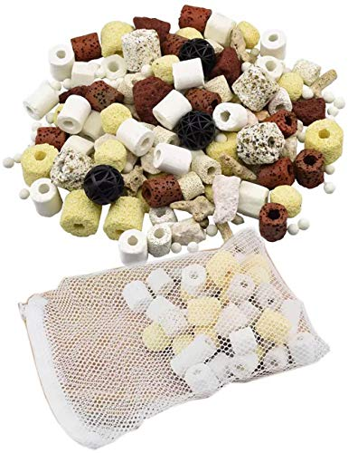Bio Balls Ceramic Rings Set,12 Aquarium Biological Filter Media with Mesh Bag for Fish Tank and Pond (500g)