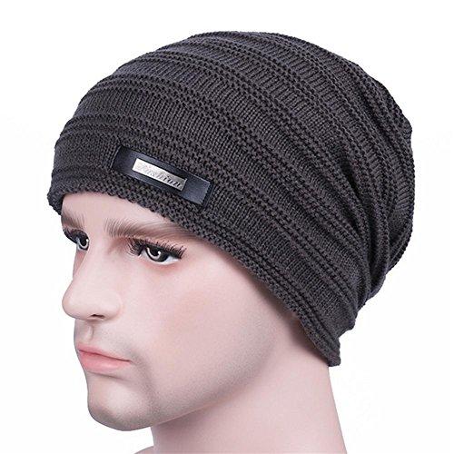 YANXH El nuevo El hombre que hace punto el casquillo más otoño grueso y el invierno al aire libre guardan el sombrero caliente del oído del cuidado , black grey