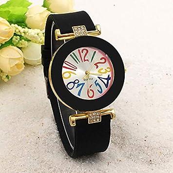 Wenwenzui-ES Moda Mujer Reloj Correa de Silicona Números Grandes Dial Redondo Reloj de Cuarzo