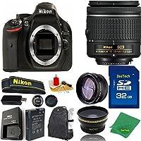Great Value Bundle for D5200 DSLR – 18-55mm AF-P + 32GB Memory + Wide Angle + Telephoto Lens + Backpack