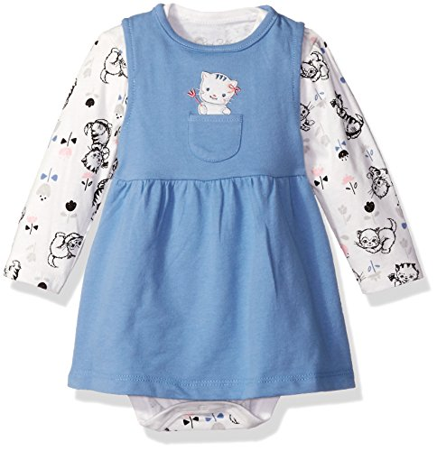 Rene Rofe Baby Baby Girls' 2 Piece French Terry Jumper Set with Lap Shoulder Longsleeve Bodysuit, Cute Kitten Blue, 18 Months