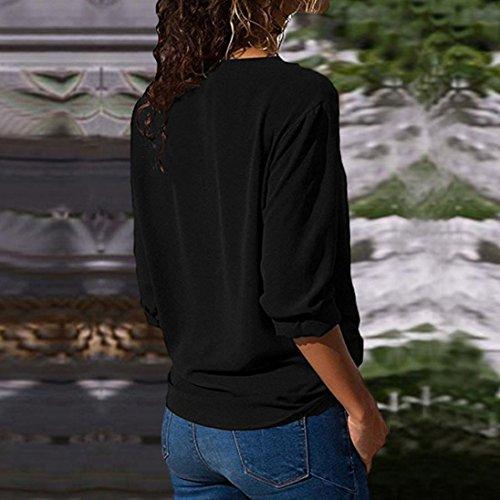 Neck Lapel Haut T Longues Manches Noir Blouse Tunique Bringbring Femme Tops Uni Shirt Chemisier Cw880q