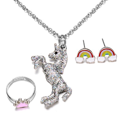 Sliver Tone Unicorn Pendant Necklace Rainbow Stud Earrings Crown Ring Jewelry Set for Girls Summer