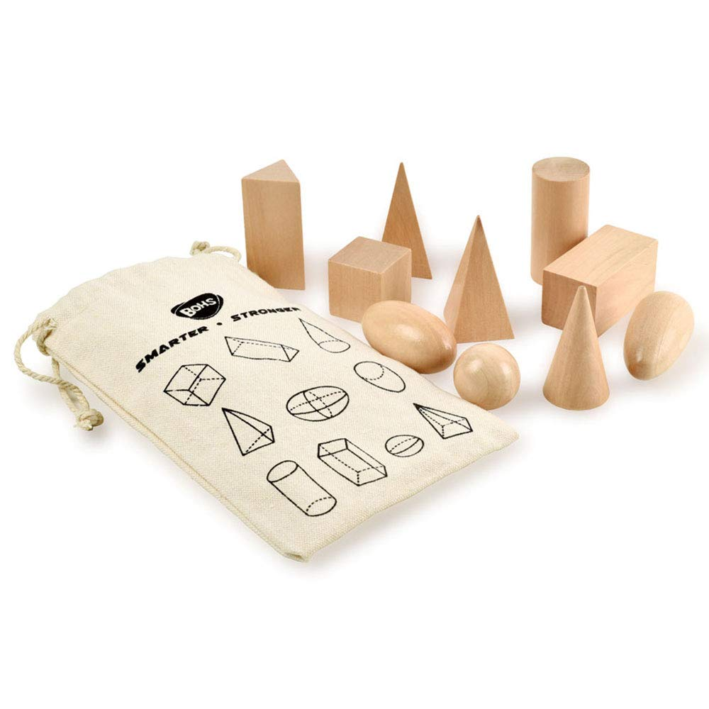 Geometry Solids in Mystery Bag - 3D Shapes Miniature Set -Wooden Montessori Toys - Pack of 10pcs - Ages 3 and Up