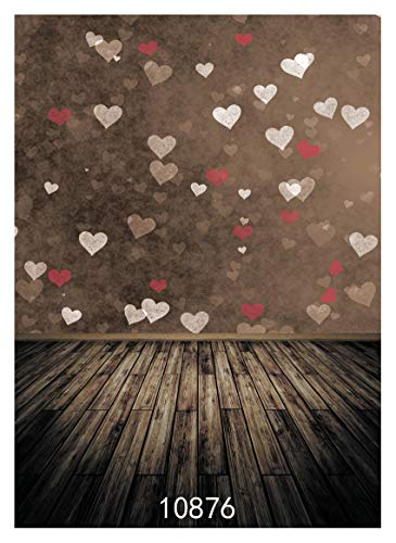 WOLADA 5x7ft Valentine's Day Backdrop Photography Vintage Wood Floor Backdrops for Photographer Lovers Date Photo Backdrop Sweetheart Wedding Anniversary Background Studio Props 10876