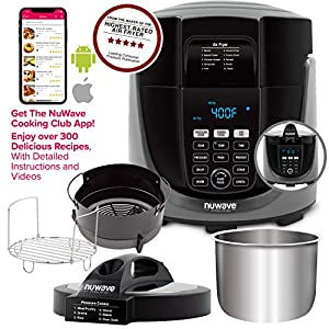 NUWAVE DUET Pressure Air Fryer; All-in-1 Multi-Cooker with Combo Cook Technology; Removable Pressure & Air Fry Lids for Convenient Storage; 6-Qt Heavy-Duty Stainless Steel Pot, Stainless Steel Reversible Rack & 4-Qt Non-Stick Air Fryer Basket; 6 Programmed Pressure Settings & 10 Programmed Air Fryer Settings; 100 Pressure Presets, 100 Air Fryer Presets, 100 Combo Presets; Built-in Sure-Lock Safety Technology; Steam, Sear, Saute, Slow Cook, Roast, Grill, Bake, Dehydrate, Pressure Cook & Air Fry
