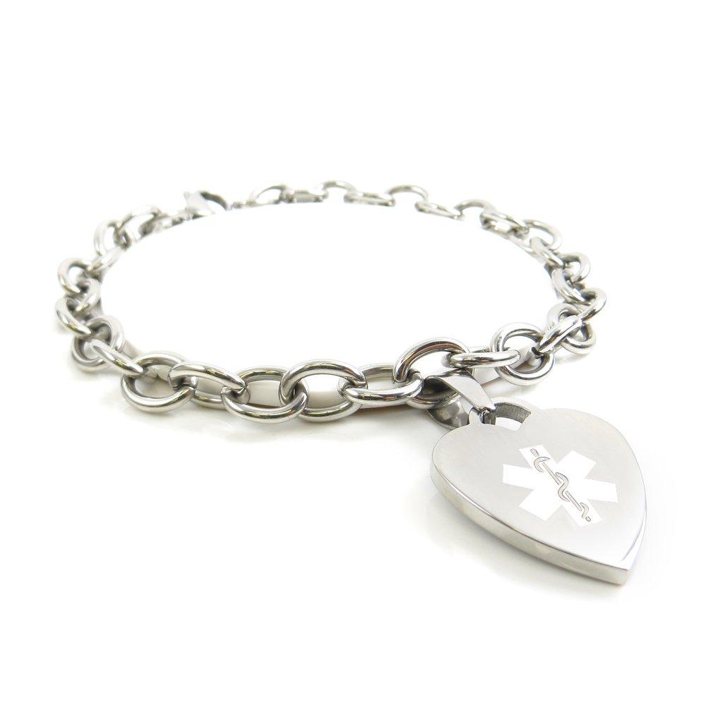My Identity Doctor - Custom Engraved Womens Medical Alert Bracelet, O-Link - White