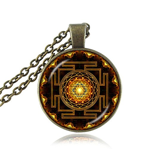 Drop shipping Fashion Buddhist Sri Yantra Pendant Necklace Sacred Geometry Sri Yantra Jewelry, Jewelry wholesale (Antique Bronze, alloy)