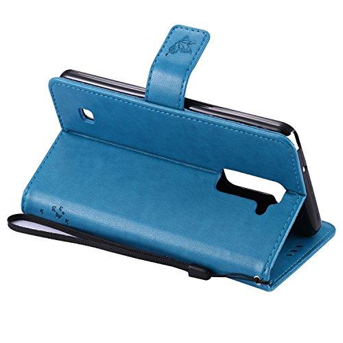 OuDu Funda LG Stylus 2 Plus Carcasa de Billetera Funda PU Cuero para LG Stylus 2 Plus Carcasa Suave protector con Correas de Teléfono Funda Arbol Flip Wallet Case Cover Bumper Carcasa Flexible Ligero