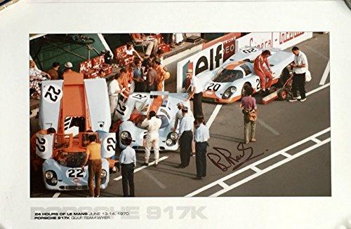 (Gulf Porsche 917K Le Mans 24 Hours 1970 poster Autographed by Brian Redman - 13″x19″)